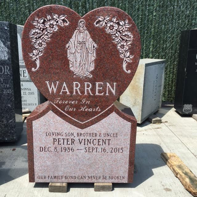 Heart-shaped Red Granite Headstone with Custom Engraving