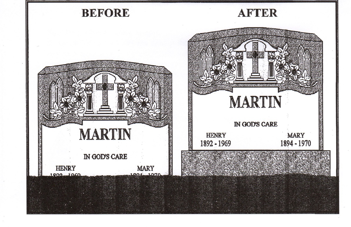 This illustration is proof of how much a base will enhance the appearance of your monument. Your family's headstone will appear larger in size and all important lettering will be more visible.