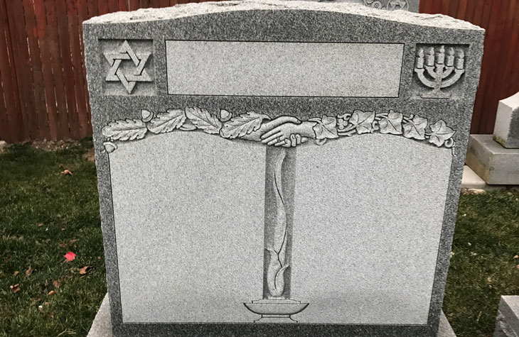 Current monument display special: Double upright Jewish monument on sale now